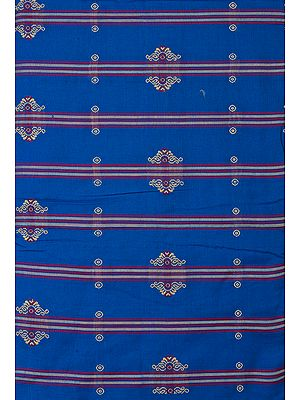 Royal-Blue Hand-Woven Bomkai Fabric from Orissa
