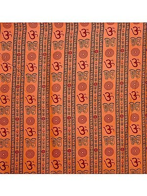 Orange Khadi Fabric with Printed Om