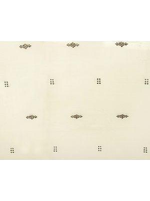 Ivory Hand-Woven Bomkai Fabric from Orissa
