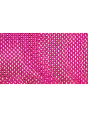 Hot-Pink Banarasi Fabric with Woven Paisleys