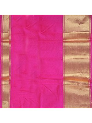 Fuchsia Plain Banarasi Fabric with Wide Golden Zari Border
