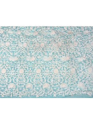 Aqua-Sky Fabric from Surat with Thread Embroidered Flowers in White