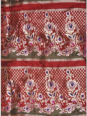 Scarlet-Red Brocade Fabric from Banaras with Golden Zari Weave