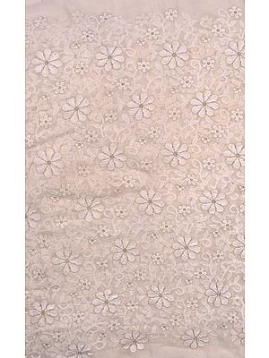 Ivory Fabric from Surat with Metallic Thread Embroidered Flowers