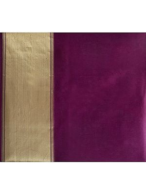 Gloxinia-Purple Plain Organza Fabric with Golden Zari Borders