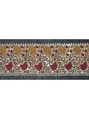 Brocaded Fabric Border from Banaras with Woven Flowers and Leaves