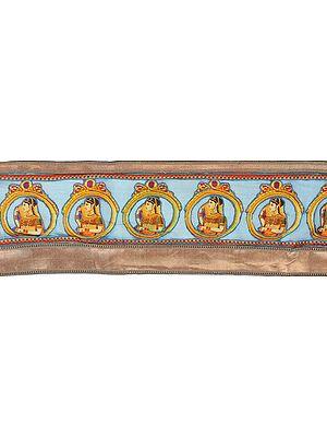 Capri-Breeze Banarasi Digital Printed Fabric Border with Applique Lady in Ghoonghat
