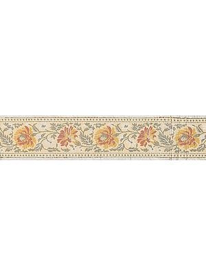 Ivory Banarasi Fabric Border with Hand-woven Flowers