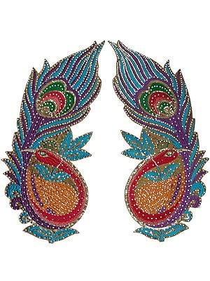 Pair of Multi-Color Embroidered Giant Peacock Patches with Beads