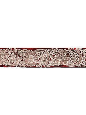 Floral Border with Metallic Thread Embroidery