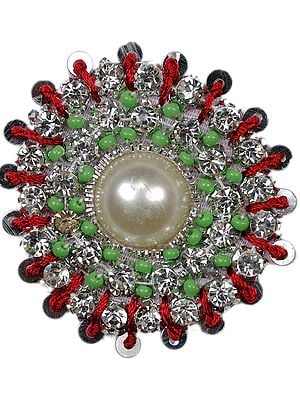 Designer Circular Patch with Crystals and Faux Pearls
