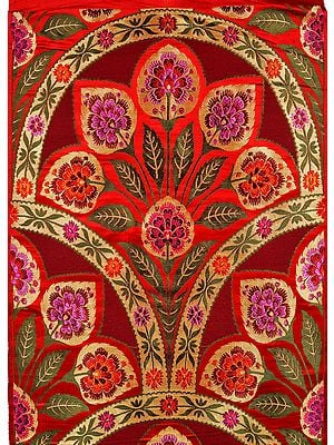 Cordovan and Red Brocade Fabric from Banaras with Woven Flowers and Zari Weave by Hand