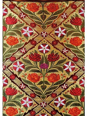 Brown and Golden Banarasi Brocade Fabric with Woven Flowers and Zari Weave