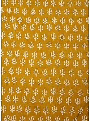 Mustard Bagdoo Block-Printed Fabric from Jodhpur