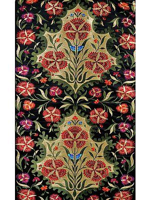 Black Banarasi Brocade Fabric with Hand-woven Flowers and Zari Weave