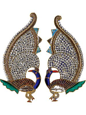 Pair of Embroidered Peacock Patches with Cut Work