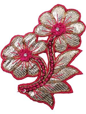 Floral Patch with Stone Work and Embroidery