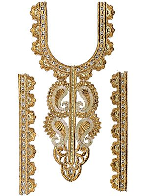 Zari-Embroidered Paisleys Kurti Neck Patch with Faux Pearls