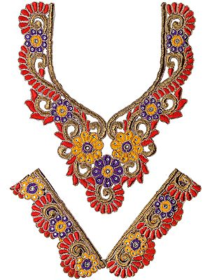 Tri-Color Floral Embroidered Neck and Sleeves Patch with Cut-work