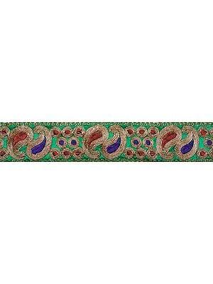 Amazon-Green Ari Embroidered Border with Paisleys