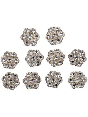 Set of Ten Silver Button Patches with Zardozi work