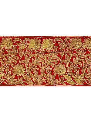 Tango-Red Wide Border with Golden Ari Embroidery
