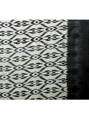 Gray and Black Handloom Fabric from Pochampally with Ikat Weave