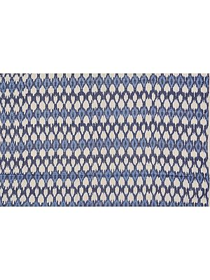 Blue and Ivory Handloom Fabric from Pochampally with Ikat Weave