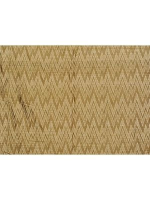 Beige Handloom Dupion Fabric from Pochampally with Ikat Weave