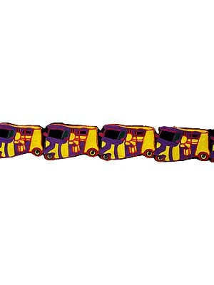 Purple and Yellow Designer Fabric Border with Embroidered Auto-Rickshaw