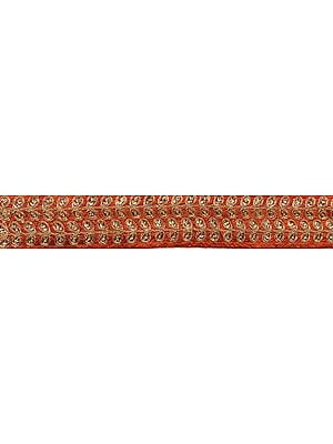 Zardozi Border with Leaves Embroidered with Golden Thread