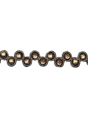 Black Designer Fabric Border with Large Faceted Bead