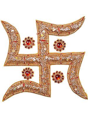 Golden Zardozi Hindu Swastik Patch with Stone Work