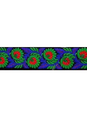 Jet-Black Fabric Border with Parsi Embroidered Flowers