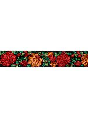 Jet-Black Fabric Border with Ari Embroidered Flowers