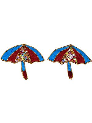 Pair of Umbrella Patch with Thread Embroidery and Sequins