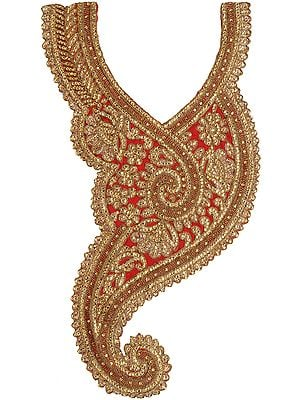 Designer Paisley Neck Patch with Golden Threadwork and Crystals