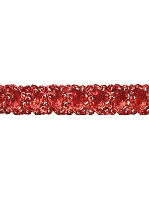 Mars-Red Sequined and Embroidered Paisleys Border