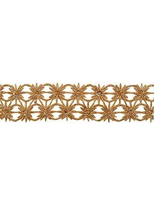 Golden Floral Cut-Work Border with Zardozi-work by Hand