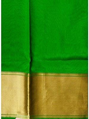 Vibrant-Green Plain Banarasi Fabric with Woven Golden Zari Border