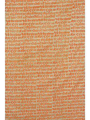 Fabric with Block-Printed Gayatri Mantra