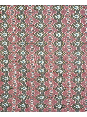 Ash-Rose Hand Woven Ikat Fabric from Pochampally