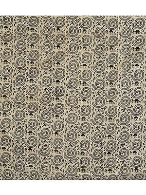 Beige-Colored Warli Fabric with Block-Printed Chakra of Life