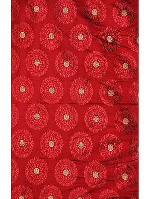 Rosewood-Colored Banarasi Fabric with Woven Chinese Shou Symbols