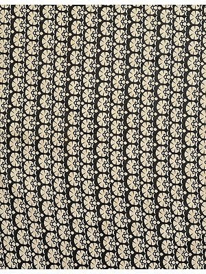 Black and Beige Colored Floral Printed Fabric from Jharkhand