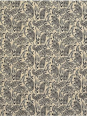 Cream-Colored Fabric from Jharkhand with Block-Printed Paisleys