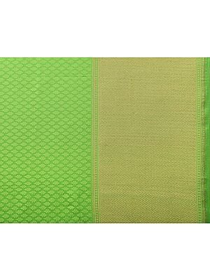 Jasmine-Green Self-Weave Banarasi Fabric with Golden Leharia Border