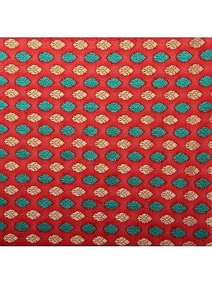 Mars-Red Fabric from Banaras with Woven Bootis All-Over