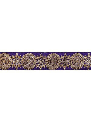 Fabric Border Embroidered with Flowers in Golden Thread and Sequins