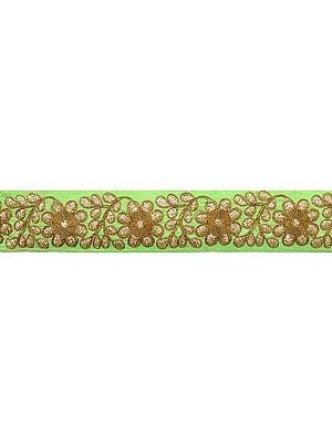 Jasmine-Green Fabric Border with Zardozi Embroided Flowers